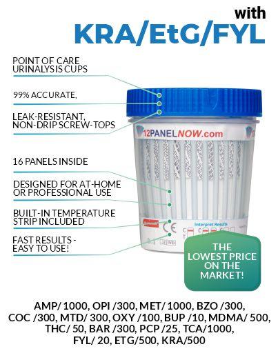 16 Panel Drug Test Cup - Alcohol -Fentanyl -Kratom - 12 Panel Now