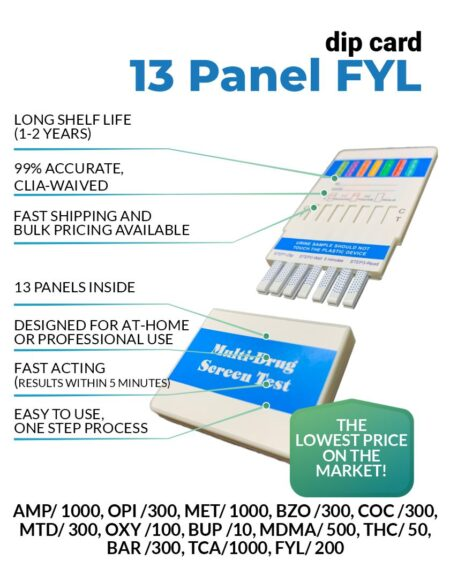 13 Panel Drug Test Dip card with Fentanyl - 12 Panel Now